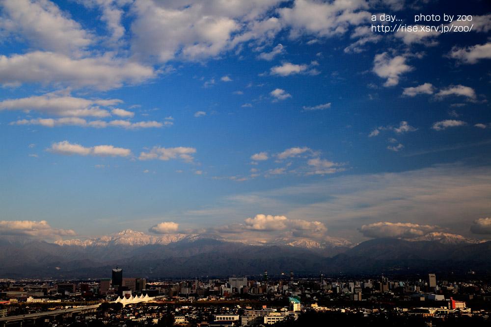 呉羽山展望台 立山連峰冠雪