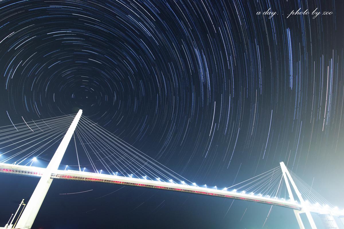 ペルセウス座流星群と新湊大橋